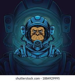 Space chimp illustration. Chimp astronaut vector