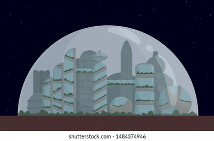 Space city, colony on Mars or Moon, for banner, postcard, screensaver