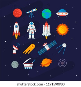 Space collection for you design: planets, the sun, comet, astronaut, rocket, ufo, satellite, Moon, telescope, etc. Vector set in flat style.