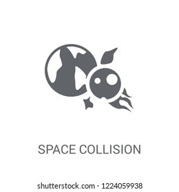 Space Collision icon. Trendy Space Collision logo concept on white background from Astronomy collection. Suitable for use on web apps, mobile apps and print media.