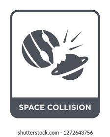 space collision icon vector on white background, space collision trendy filled icons from Astronomy collection, space collision simple element illustration