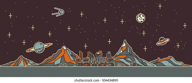 Space colonization panorama. Colony on other planet. Rounded lineart.