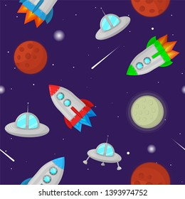 Space colorful vector seamless pattern with planets, stars, rockets and flying saucers