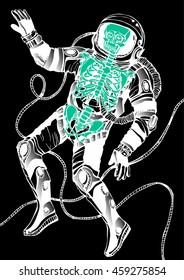Space concept with astronaut and skeleton . Cosmic poster