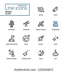 Space concept - line design style icons set. High quality black pictograms. Alien, meteorite, Uranus, orbit, solar system, galaxy, liftoff, satellite, robot, station, blaster, shutter, planetary rover