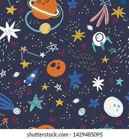 Space, cosmos flat hand drawn seamless pattern. Galaxy exploration cartoon illustration. Stars, rockets, planets, comets scandinavian style background. Childish wallpaper, textile, texture design