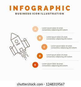 space craft, shuttle, space, rocket, launch Infographics Template for Website and Presentation. Line Gray icon with Orange infographic style vector illustration