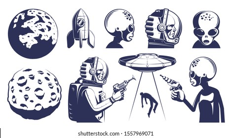 Space design elements set in retro style. Astronaut and alien. Planets and spacecraft. vector illustration.