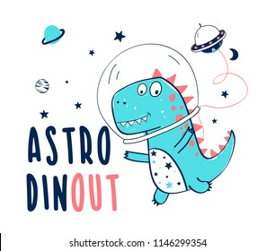 Space and dinosaur  hand drawing illustration vector.