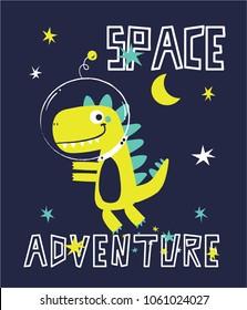 space dinosaur vector illustration for kids fashion