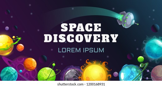 Space discovery concept illustration. Vector horizontal cosmic banner. Cartoon colorful fantasy planets on the night sky background.