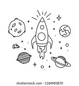 Space doodle. Hand drawn black line, vector illustration.