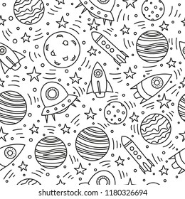 Space doodle seamless vector pattern for wallpaper, wrapping, textile. Planets, rockets in cartoon hand drawn style.