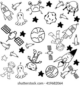 Space doodle set for kids with black and white backgrounds