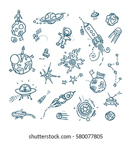 Space doodles. Collection of funny free hand drawing of different space, universe real or unreal objects and creatures.