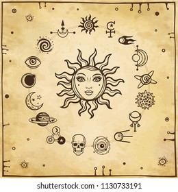 Space drawing: the sun with a human face, set of mystical icons. Background - imitation of old paper. Esoteric, mysticism, occultism. Print, poster, t-shirt, card. Vector illustration