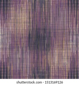 Space dyed ikat stripe variegated tie dye fabric background. Seamless pattern of woven textile broken line. Boho gradient weave blend all over print. Trendy mottled blurry fashion swatch. Gold Purple