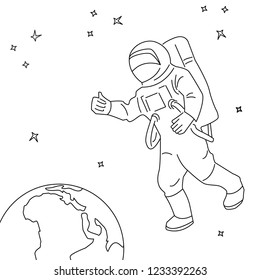 space with earth, astronaut, comet flat design on white background line art .