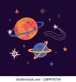 Space elements in cute doodle style. Hand-drawn cosmic planets, stars and universe elements for children's print. Cartoon illustration galaxy for concept design t-shirt. Vector.