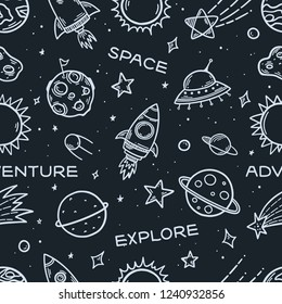 Space elements hand drawn seamless pattern. Space theme cartoon doodle illustration. Hand drawn pattern with planets, rockets, stars, UFO, sun. Explore space adventure slogans. Vector illustration.