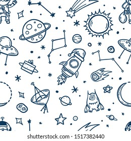 Space elements hand drawn seamless pattern. Space theme cartoon doodle illustration. New year christmas holidays kids clothes design elements Vector illustration.