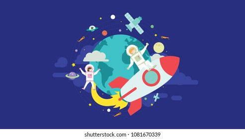 Space Expedition Tiny People Character Concept Vector Illustration, Suitable For Wallpaper, Banner, Background, Card, Book Illustration, Web Landing Page, and Other Related Creative