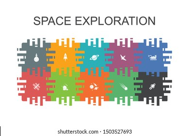 space exploration cartoon template with flat elements. Contains such icons as rocket, spaceship, astronaut