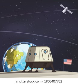 Space exploration composition with lunar rover and artificial earth satellite flying against starry sky flat vector illustration