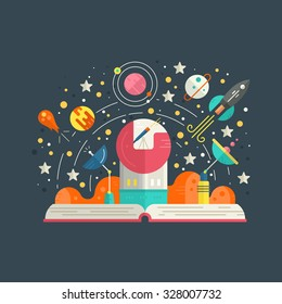 Space exploration concept - open book with solar system elements, including rocket, meteor, planets, stars. Imagination concept made in flat style vector.