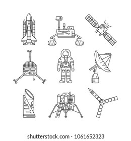 Space exploration line icon set. Black line icons on white background. Science and astronomy concept