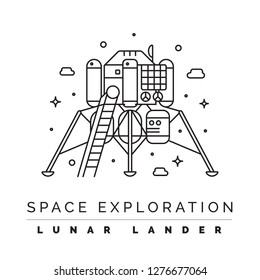 Space exploration line illustration. Science and astronomy concept.