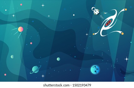 Space exploration modern background design with a Black Hole and Galaxy in cosmos. Cute time travel quantum physics template vector scientific illustration with a portal to another dimension