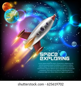 Space exploration with retro rocket planets and stars on dark background with rays and flares vector illustration