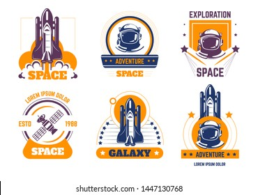 Space exploration spacecraft and pressure suit isolated icons cosmic rocket vector shuttle launch and spaceman helmet satellite astronautic mission cosmos and science starship and rocketship galaxy.