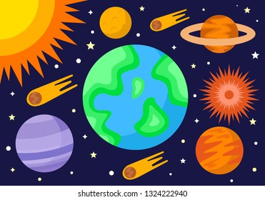 """Space Exploration """"Vector"""". Flat Space and Universe in Flat Design Style. (Good for Wallpaper) Great Value $$$"""