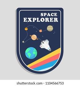 Space Explorer Earth Rocket Flying In Space Background Vector Image