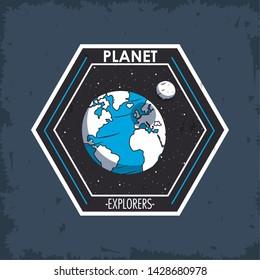 Space explorer patch emblem milkyway planets design on blue grunge background vector illustration graphic design