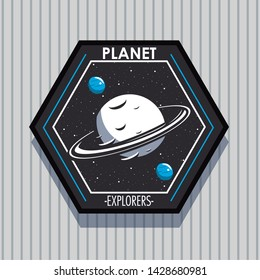 Space explorer patch emblem milkyway planets design on gray striped background