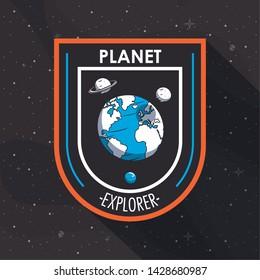 Space explorer patch emblem milkyway planets design on black background vector illustration graphic design