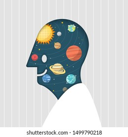 Space fantasy in smile human head shape. Man and space. Solar system planet and space element in universe. Vector illustration.