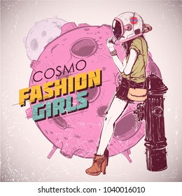 Space fashion illustration. Vector collection.