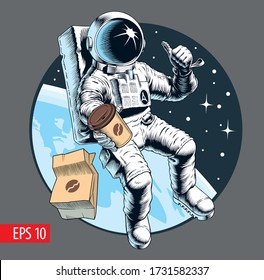Space fast food. Astronaut holding a coffee cup. Coffee to go concept. Vector illustration.