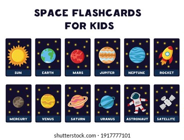 Space flashcards for kids. Vector illustrations of solar system planets with their names.
