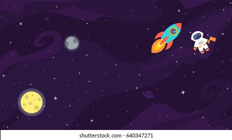 Space flat vector background with astronaut, rocket, spaceship, moon, planets and stars. Space for your text.