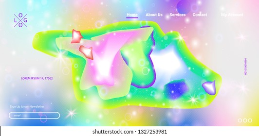 Space futuristic lucid web design. Vector illustration of abstract gradient space fluid shapes landing page. Modern neon bright colors layout template design - Vector