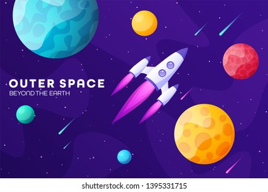 Space futuristic modern colorful background with rocket. Starship, spaceship in night sky. Solar system, galaxy and universe exploration. Vector illustration.