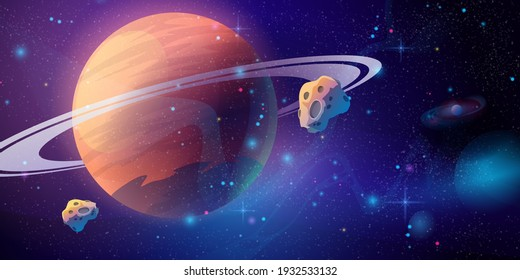 Space galaxy background with saturn planet and asteroids, cartoon universe texture. Vector starry futuristic surface with purple nebula, cosmos dust scenery. Deep purple sky with stars and planets