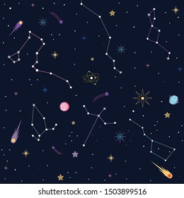 Space Galaxy constellation seamless pattern- Vektör