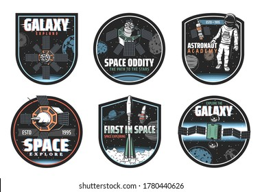 Space and galaxy exploration vector icons with spaceships, astronaut and universe planets. Rockets with satellites, Earth, Moon and stars, spaceman, spacesuit and helmet, astronomy isolated emblems