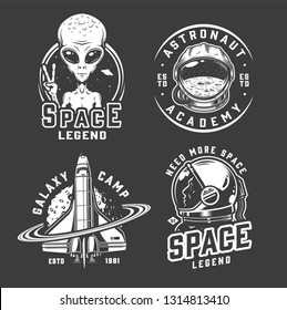 Space and galaxy logotypes with extraterrestrial showing peace sign cosmonaut helmet shuttle spaceman in vintage monochrome isolated vector illustration